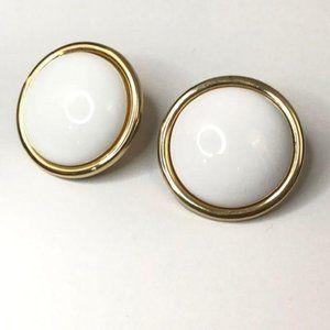 Monet White Enamel Gold Round Clip On Earrings